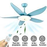 52'' Ventilador de techo con luz y mando a distancia, 5 Aspas Reversibles, Silencioso, Velocidades Ajustable, Ventiladores para el techo con LED lámpara, Temporizador, Función Invierno, Iluminación