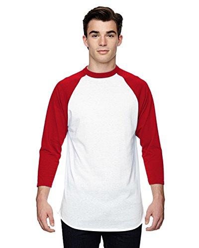 Augusta Sportswear Herren Baseball Jersey 2.0 Dreiviertel-Ärmel, weiß/rot, Large