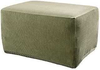 SureFit Stretch Stripe - Ottoman Slipcover - Sage (SF37762)