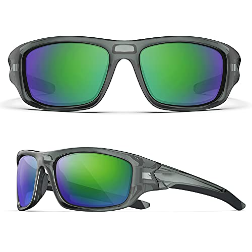 Sunglasses For Men,Polarized Sports Sunglasses for Cycling Golf Running Tennis Skateboarding Rowing Hiking Trekking Glasses for Women, Polarized Lens, TR-90 Frame (Transparent gray & green sheet)