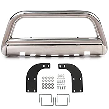 ECOTRIC Front Bumper Bull Bar Grille Guard Protection Protector Compatible with 1998-2005 Mercedes Benz ML-Class W163 ML320 ML350 ML430 ML500