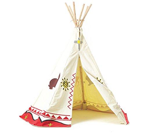 Tipi Spielzelt für Kinder Wigwam Spiel-Zelt Indianerzelt Indianer, Holzstangen und Baumwolle, Garden Games 3025