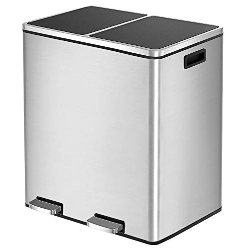 HEMBOR Dual Trash Can, 16 Gallon (2X30L) Step Rubbish Bin, Stainless Steel Double Compartment Classified Recycle Garbage Pedal Dustbin, Suit for Bathroom Kitchen Office Home, Indoor and Outdoor Illinois