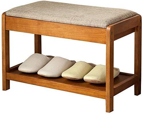 Porche - Banco de almacenamiento de zapatos de 2 niveles, pasillo de madera, zapatero, otomano, retro, para botas, organizador de zapatos, gabinete con cojín de asiento para baño / sala de estar y pas