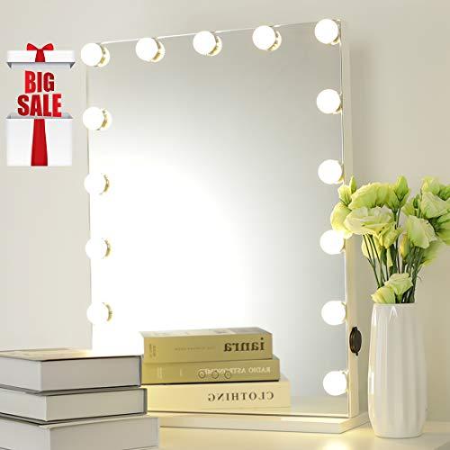 iCREAT Beleuchtete Schminkspiegel, Professionelle Hollywood Kosmetikspiegel für Kosmetikstudio, Salon, INS Kosmetikspiegel, auch für Wohnzimmer, Schlafzimmer, 46X58cm, mit 15 LED Lichter