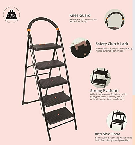 Branco:Ladder 4 Step Folding Ladder with Wide Steps (Milano) (GEC- L4M)