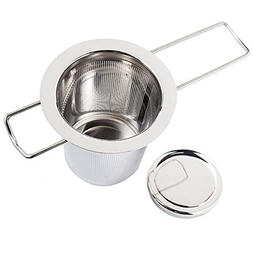 otutun Filtros para té , Filtros de Té de Acero Inoxidable de Mango Largo con Tapa , Infusor de Té para Tazas, Tazas y Ollas de Cereales a Granel (7.4x6.5cm)