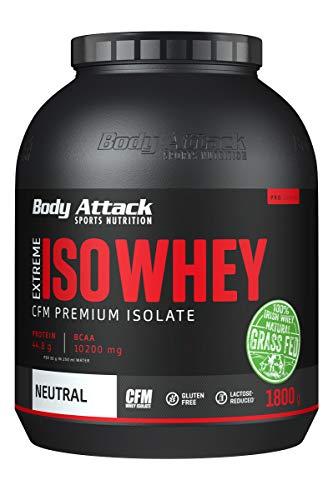 Body Attack Extreme Iso Whey, CFM Whey Protein Isolat aus 100% irischer Weidemilch, glutenfrei, reich an EAAs, perfekt löslich, fettarm, ohne Aspartam, 90,6% Isolat-Anteil (Neutral, 1,8 kg)