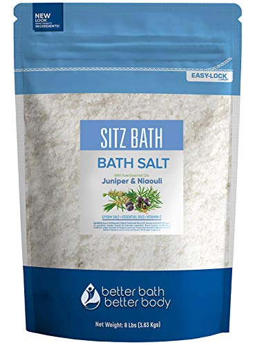 Sitz Bath Soak 128 Ounces Hemorrhoid Soak Epsom Salt with Natural Geranium, Frankincense, Lavender, Niaouli Essential Oil Plus Vitamin C in BPA Free Pouch with Press-Lock Seal