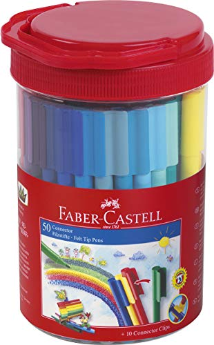 Faber-Castell 155550 Filzstift Connector in Box, 50-teilig