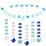 CODOHI It's A BOY Whale Banners & 6 Packs Garlands & 6 Packs Cake Toppers for Baby Shower Blue Themed Hanging Garlands Cutout Decor for Home Shop Kids Living Room Birthday Party Photo Booth Set