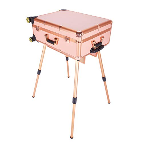 AOO Beauty Trolley, Large Professional Makeup Case with 4 Rolling Wheels & Lights & Mirror, Cover Board and Easy Clean Extendable Trays Adjustable Legs