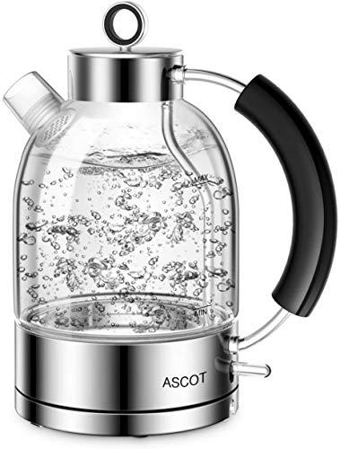 Wasserkocher Glas-ASCOT Elektrischer Wasserkocher Edelstahl, 2200W, 1,6L, Retro Design, BPA frei, leiser Schnellkochkessel, kabelloser Teekessel, Trockengehschutz und automatische Abschaltung