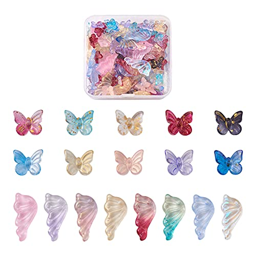 Cheriswelry 108 abalorios de cristal con forma de mariposa y alas de ángel, diseño de mariposa, color AB, 2 tonos, para joyas, pendientes, pulsera