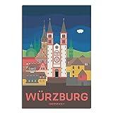 ASFGH Würzburg Deutschland Vintage Reise Poster Dekor