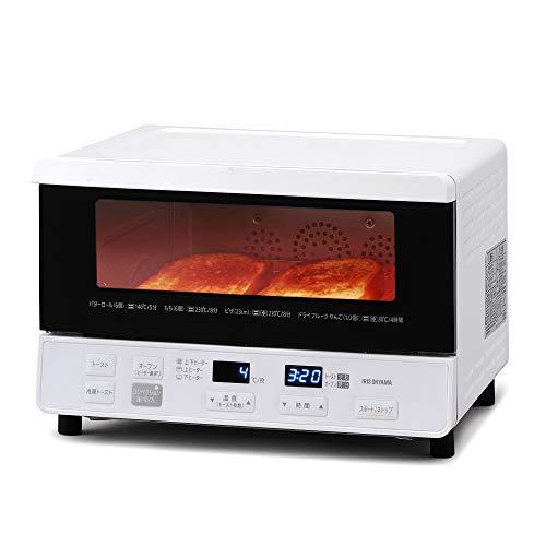 アイリスオーヤマ オーブントースター 1300W 63段階温度調節(35~230度) スチーム調理 ノンフライ調理 低温調理 食パン4枚 上下ヒーター4本 マイコン式 ホワイト 2020年モデル CMOT-S040