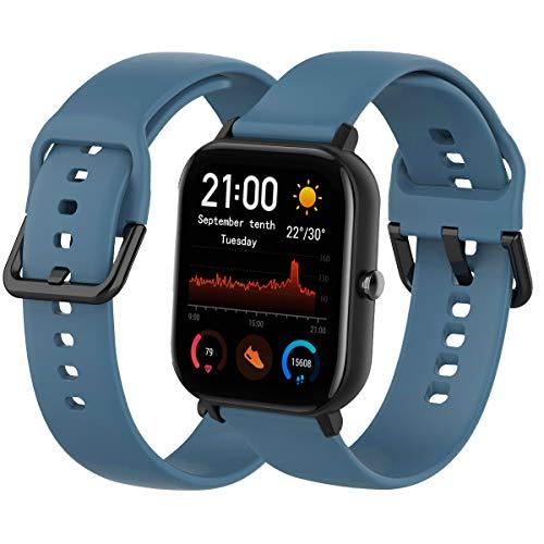 Th-some Correa para Amazfit GTS Smartwatch Reloj de Pulsera Compatible con Amazfit GTS/Amazfit Bip/Amazfit GTR 42mm Band Silicona (Azul Glaciar)