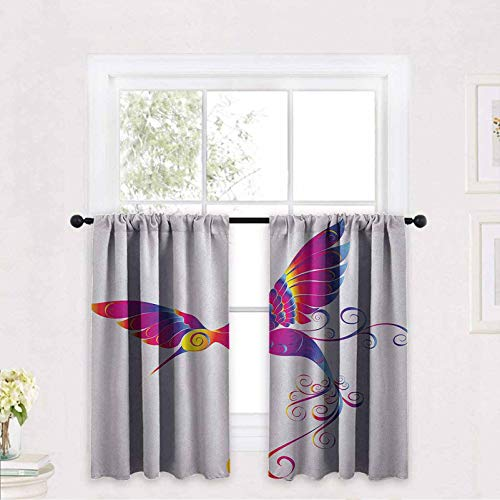 Hummingbirds Kitchen Curtain Colorful Feather Hummingbird Curvy Tail Ornament Stylized Artistic 30 x 63 inch Thermal Insulated Room Darkening Drapes Nursery Decor