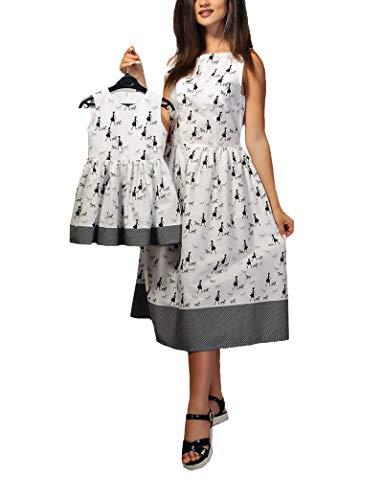Yuyudou familie passende jurk, mama en dochter outfits casual print mouwloos vest midi jurk zomer strandparty pak, vrouw klein meisje kleding wit