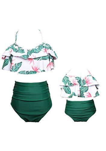 WIWIQS Women Two Piece Off Shoulder Ruffled Flounce Bikini Top with Print Cut Out Bottoms Green 116