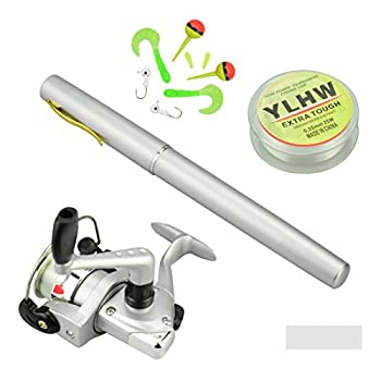 MultiOutools Pen Fishing Pole 38 Inch Mini Pocket Fishing Rod and Reel Combos Travel Fishing Rod Set for Ice Fly Fishing Sea Saltwater Freshwater Gift for Festivals  Sliver