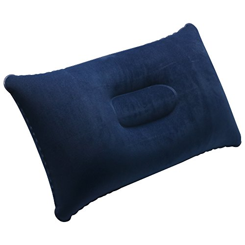 TRIXES Navy Blue Soft Inflatable Camping Travel Pillow Cushion - Compact...