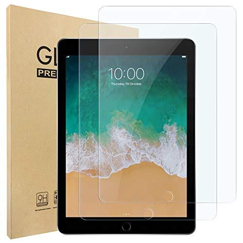 Hianjoo 2 Piezas Pantalla Protector Compatible con iPad (Pro) 9.7'(2018/2017), Premium Cristal Tablet Salvapantallas Vidrio Templado Compatible con iPad Air 1/2[9H Dureza][Alta Claridad][Sin Burbujas]