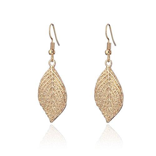 Orecchini pendenti da donna, a forma di foglia, in acciaio inossidabile placcato in oro o argento e Acciaio INOX, colore: Gold Plated, cod. EH04751