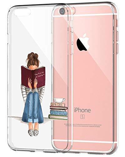 AIsoar ® Case iPhone 6,iPhone 6s Coque de Protection Transparente Silicone Antichoc TPU Ultra Mince arrière Résistant aux Rayures Housse Panda Couverture (Fille Littéraire)