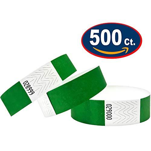 500 Eintrittsbänder aus Tyvek, DARK GREEN - DUNKELGRÜN - Party Einlassbänder, Securebänder, Festival Armbänder, Kontrollbänder für dein Event