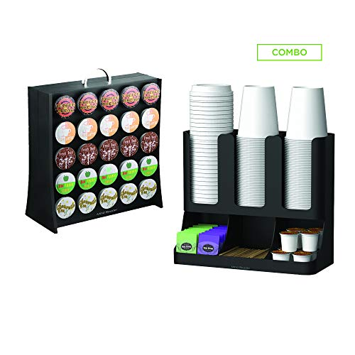 Mind Reader UPRAC-BLK Coffee Accessories Condiment Organizer with K-Cup Holder Storage, 50 Capacity K-Cups, 2 Pack, Black