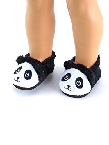 Cute and Fuzzy Panda Slippers for 18-inch Dolls fits 18-inch American Dolls and More