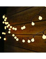 Guirnalda Luces Exterior Solar,Tomshine 50LED 6.9m Cadena de Luces bolas led decorativas,IP44 Impermeable 8 Modos,Guirnaldas Luminosas para Exterior,Interior,Jardines Fiesta de Navidad (Blanco Cálido)