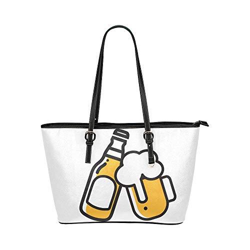 Bier Getränk vereinbartes Geschäft Beifall Große weiche Leder tragbare Top Hand Totes Taschen Kausale Handtaschen mit Reißverschluss Schulter Einkaufstasche Geldbeutel Organizer für Lady Girls Womens