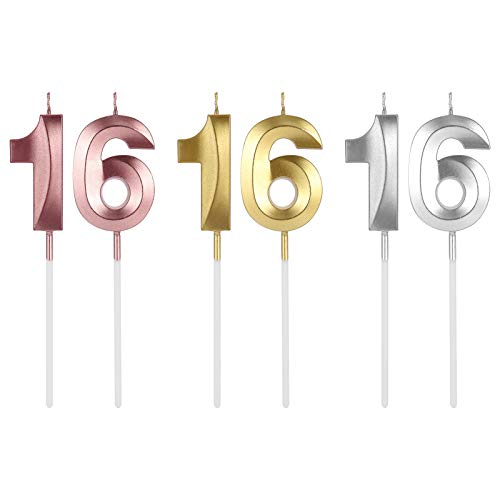 Chutoral 3 Pair 16th Birthday Cake Candles, Cake Numeral Candles Happy Birthday Cake Candles Topper Decoration for Birthday Party Wedding Anniversary Celebration Supplies (Gold,Silver,Rose Gold)