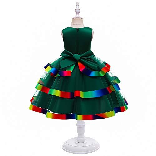 ZCRFYY Vestido para niños Falda de Hilo de Red Princesa Vestido Esponjoso para niñas Falda de Pastel de Rendimiento micrófono Vestido de Novia de Dama de Honor,Verde,130cm