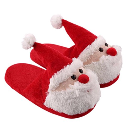 Christmas Slippers House Slippers Xmas 3D Santa Claus Memory Foam Slippers Shoes Warm Anti-slip Shockproof Soft Fluffy Cotton Slippers Winter for Kids Boys Girls Ladies Adults Female 9.5 (10.43'')