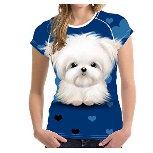 N\P Camiseta de manga corta con estampado de perro maltés para mujer de verano transpirable casual camiseta para niñas - - Small