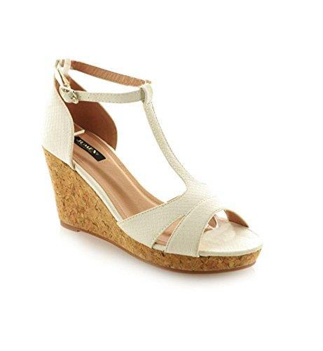 Damen Riemchen Sandaletten Pumps Keilabsatz Keilpumps High Heels Peep Toes Schuhe D13002 (41, Weiß)