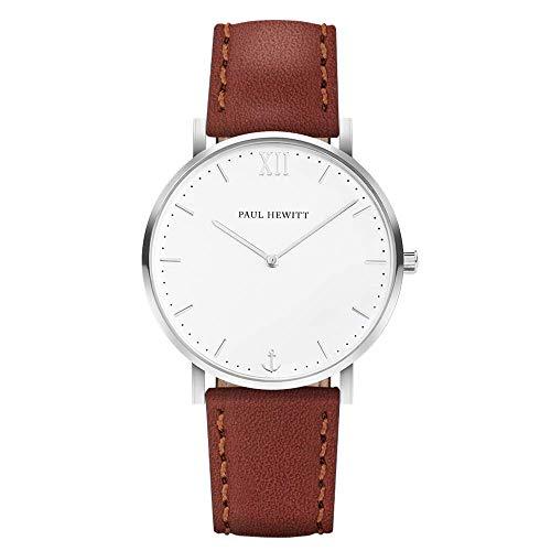 PAUL HEWITT Armbanduhr Männer Edelstahl Sailor Line White Sand - Herren Uhr Lederarmband (Braun), Silberne Herren Armbanduhr, weißes Ziffernblatt