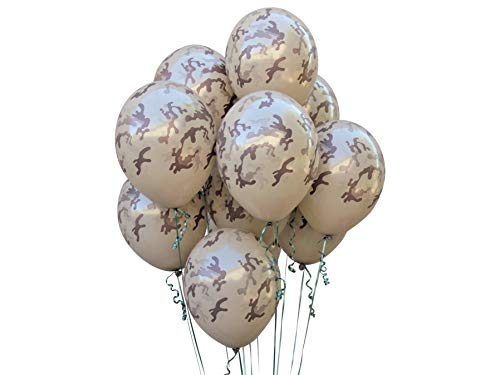 Tan Camouflage Balloons. 24 per Pack. High Quality Latex 12 Inch Size. Perfect for Outdoors Themed, Hunting, or Military Celebration or Party.
