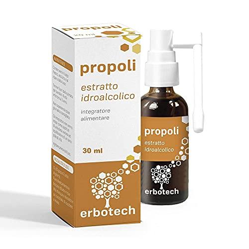 ERBOTECH Propolis Spray 30 ml, Teinture Mère, 100% extrait pur, remède naturel pour les maux de gorge et la toux, contribue au bien-être des voies respiratoires supérieures, Végétalien, Made in Italy