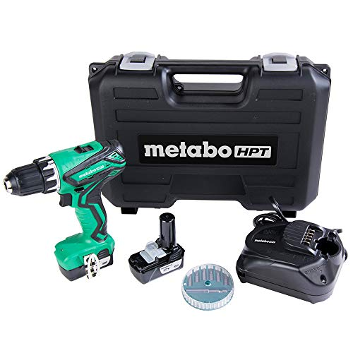 Metabo HPT DS10DFL2 Cordless Drill | 12V Peak | Includes 2-12V Lithium Ion Batteries | Carrying Case | 7 Piece Bit Set | Lifetime Tool Warranty