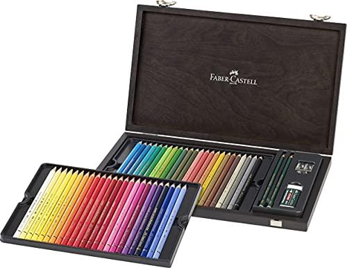 Faber-Castell 110006 - Polychromo Farbstift Polychromos, 48er Holzkoffer mit Zubehör, wasserfest, bruchsicher, für Profis und Hobbykünstler, bunt