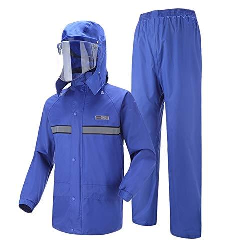 Insun Adultes Combinaison de Pluie Vestes Anti-Pluie à Capuche et Pantalons de Pluie avec Bandes Réfléchissantes Haute Visibilité Bleu Royal L