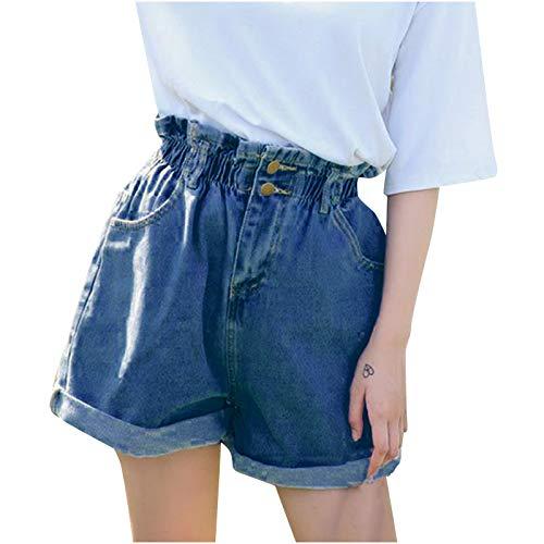 Winkey - Pantalones vaqueros cortos para mujer, cintura elástica, dobladillos plegados, pantalones cortos de verano azul oscuro L