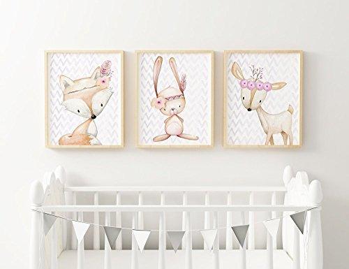 SomethingCute: 3er Set Kinderzimmerbilder BOHO Tiere Waldfreunde für Mädchen / Geschenk zur Geburt, zur Taufe, Taufgeschenk, Geburtsgeschenkt, Fine Art Print