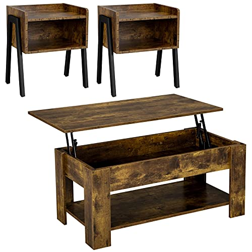 Yaheetech Coffee Table Set of 3 for Living Room, 3 Piece Coffee Table and End Table Sets, Lift Top Coffee Table with Hidden Storage Compartment, Stackable End Table with Open Drawer, Rustic Brown