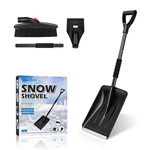 CLISPEED Juego de pala de nieve 3 en 1, portátil, con raspador de hielo y cepillo de nieve, color negro