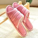 LJXLXY Zapatillas de Mujer de casa Felpa Zapatillas de algodón Mujeres del otoño y el Cuidado del Calzado de Invierno, hogar de Interior mudos Inferior Suave del hogar Silencio Algodón SPA Zapatillas